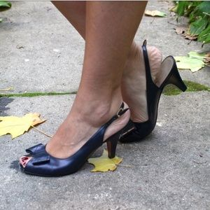 Ferragamo Navy Sling-Back Heels